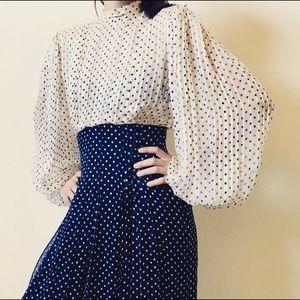 VINTAGE PAULINE TRIGERE Silk Billowed Sleeve Dress